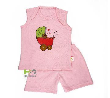C Neck- Baby T Shirt Set Sleeveless Champagne Pink