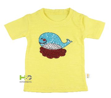 Cotton T-shirt for baby Yellow Whale