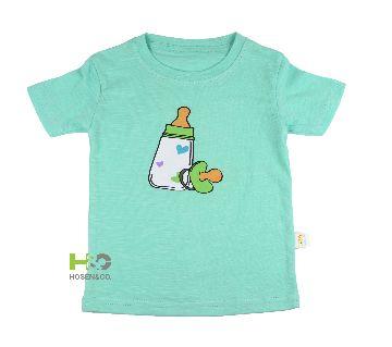 Cotton T-shirt for baby Light Green Feeder