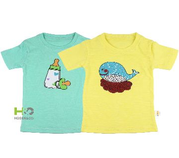 2Pcs Cotton T-shirt for baby Feeder Whale