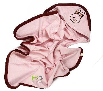 Baby Cap Towel - Hooded Towel -(30 x 28inch)-Pink -1Pcs(Border)