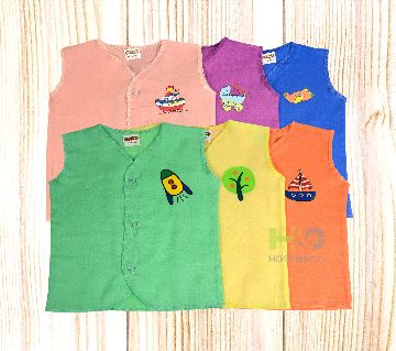 Cotton Nima for Baby- Sleeves less-Solid Multicolor- (6 Pcs)