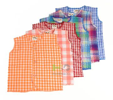 Cotton Nima for Baby- Sleeves less-Check Multicolor- (6 Pcs)