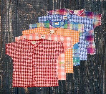 Cotton Nima for Baby- Half Sleeves-Check Multicolor- (6 Pcs)