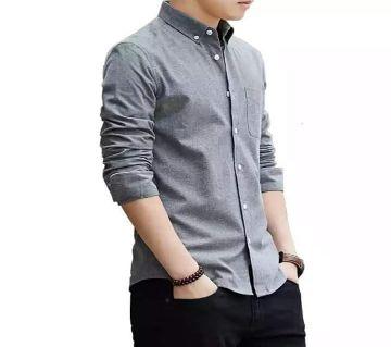 Full Sleeve Cotton Shirt For Men-ash