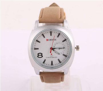 Curren Pu Leather Wrist Watch For Men-Copy (Brown)