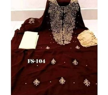Indian Weightless Georgette Embroidery Unstitched three pic