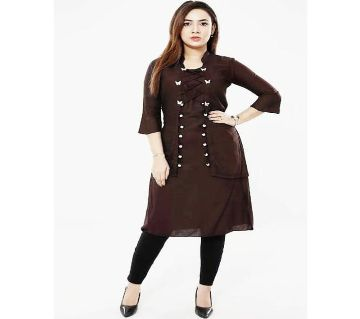 Unstitched China Linen Kurtis For Women - Chocolate