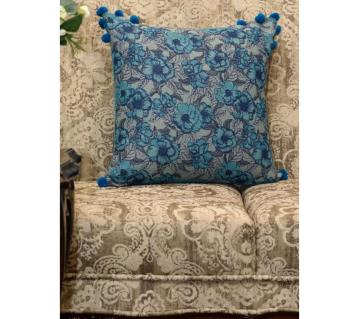 Garden/ Blue Printed & Hand Embroidered Cushion Cover by Ivoryniche