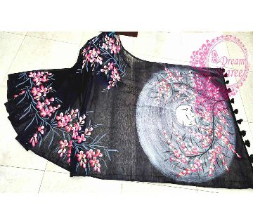 Hand Painted Half Silk Sharee
