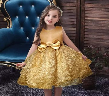 Golden Party Frock for Girls