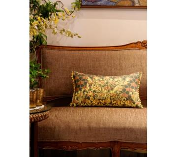Tribal Life/ Green Yellow Printed & Hand Embroidered Cushion Cover by Ivoryniche
