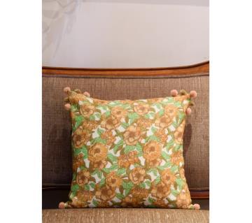 Garden/ Orange Printed & Hand Embroidered Cushion Cover by Ivoryniche