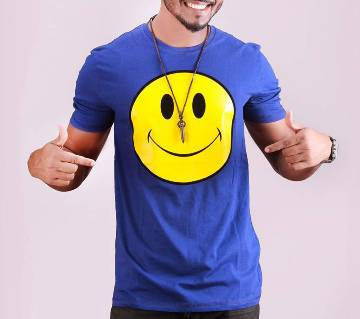 Smile Emo মেনজ রাউন্ড নেক টি-শার্ট - ব্লু