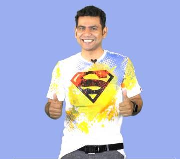 Superman জেন্টস হাফ স্লিভ কটন টি-শার্ট