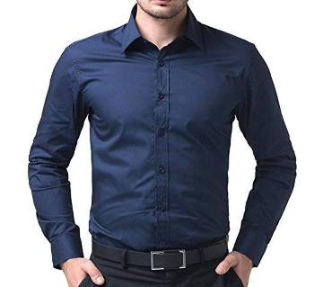 Navy Blue Cotton long sleeve shirt for men