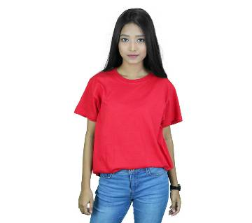 Round Neck T-shirt For Women - Red
