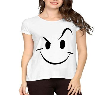Womens Smiling Face Round neck  t-shirt