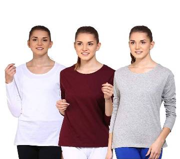 Full Sleeve round neck  t-shirt for women combo pack.