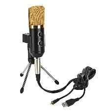 Condenser Sound Recording Microphone With Stand Holder GBTIGER BM 100FX USB BLACK