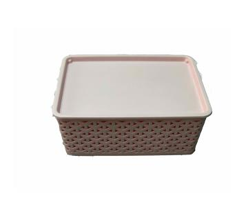 76504 Low Height Rattan Basket Medium - Baby Pink