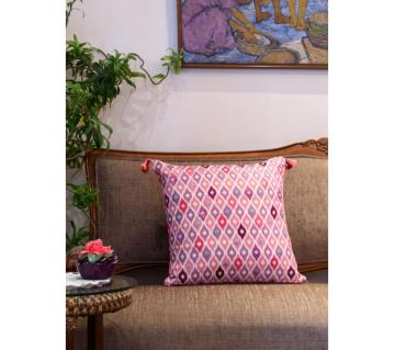 Ikat/ Pink Printed & Hand Embroidered Cushion Cover by Ivoryniche