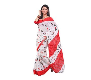 Screen Printed Red-White Cotton Saree